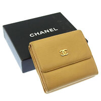 Chanel Wallet Purse Folding wallet COCO Beige Gold Woman Authentic Used Y2732
