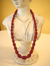 """Baltic Amber Oval Egg Necklace Natural Cherry Red Antique Art Deco 25"""" 65 grams"""