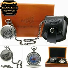 DER ROTE BARON German Aerial Memorial Silver Pocket Watch Men Gift Set  C65