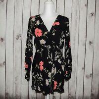 FLYNN SKYE Women's VNeck Mini Dress Black Floral Print 100% Rayon size Small
