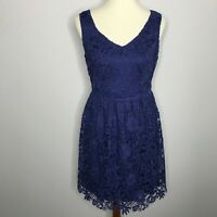 Modcloth Geode Womens Size Medium Dress Fit Flare Blue Crochet Lace Knee Length
