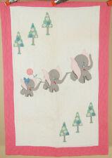 Cheery Vintage 30s Dumbo Elephants & Trees Applique Antique Crib Quilt ~Colorful