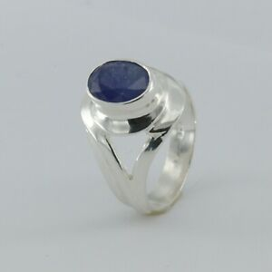 Size 6 - Genuine Natural Oval Blue SAPPHIRE Ring - 925 STERLING SILVER #1