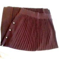Vintage Pleated Wool Midi Brown Straight Skirt Size Medium Alain Manoukian