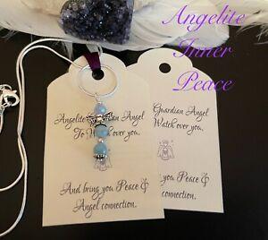 Angelite Gemstone Angel Necklace FOR Inner Peace , Spiritual. Chakra Gift.