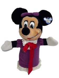 "Minnie Mouse Disney World Plush Hand Puppet  11"" Purple Dress Bow"