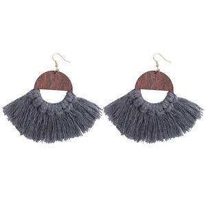 Handmade Macrame Natural Wood Grey Tassel Drop Earrings Chic Dangle Jewelry Gift