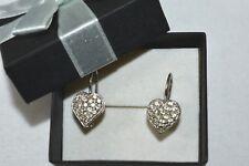 1 CT Genuine Diamond Drop Heart Earring 14K White Gold Pave' Set On Sale