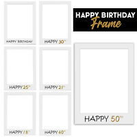 Happy Birthday Frame Photo Booth Party Prop Selfie Fun 16/18/21/25/30/40/50th