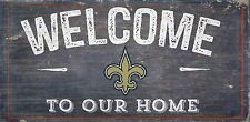 """New Orleans Saints Welcome to our Home Wood Sign - NEW 12"""" x 6""""  Decoration Gift"""