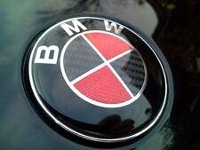 2x BMW RED CARBON Bonnet+Boot Emblem 82mm+74mm fits E30 E36 E46 3 5 7 X Series