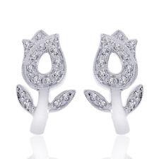 0.25 Carat Round Diamond Tulip Flower Hoop Huggy Earrings 14K White Gold