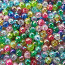 🎀 3 FOR 2 🎀 100 Transparent Iridescent Acrylic Round 4mm Spacer Beads
