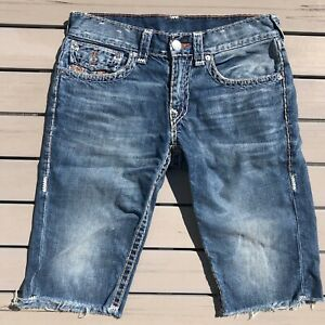Men's True Religion Denim Jean Shorts w/ Flap Pockets Size 31