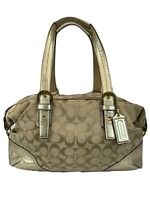 COACH Maggie Signature Tan And Gold Satchel Purse F17132