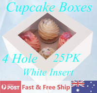 Cupcake Boxes 4 Hole 25PCS Window Face Cases Cake Boards Gift Party Wedding AU