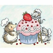 Stampavie TINA WENKE Clear Stamp CRITTERS DECORATING A CUPCAKE WDS 764