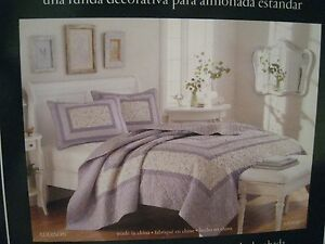 Laura Ashley Quilted Standard Pillow Sham Addison Lilac Purple 20x26 NEW 1