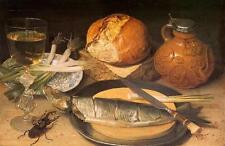 Oil painting Georg Flegel - Still Life with Stag Beetle bread knife Shallot cup