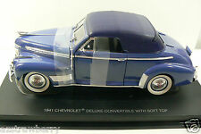 1941 CHEVROLET DELUXE CONVERTIBLE WITH SOFT TOP, BLUE ON BLUE CAR MODEL