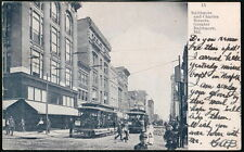 BALTIMORE MD Charles Street Trolley Cars Antique Town View Postcard Old Vtg B&W