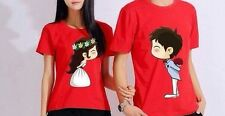 Couple Lovers T-Shirt - Kissing Cartoon (red)