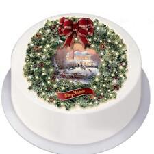 "Edible Decor Icing Sheet Christmas Vintage Traditional Wreath for 7"" Circle Cake"