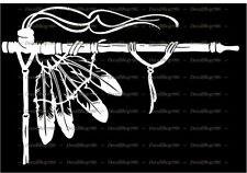 Native American Indian Peace Pipe w/Feathers - Vinyl Die-Cut Peel N' Stick Decal