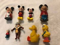 Vintage Disney And Sesame Street Figure Lot Mickey Mouse Big Bird