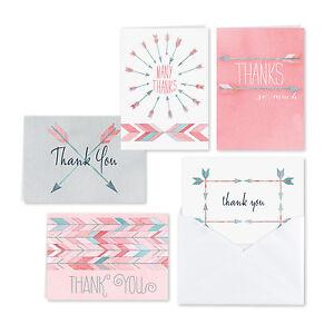 Watercolor Arrow Thank You Cards Wedding Bridal Shower Thank You Notes 25/pk
