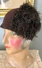 Rare Vintage 1930's Brown Knit Hat Cap W/ Fringes
