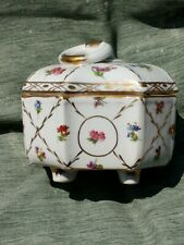 Royal Europe Peinte a la Main Gold Gilt Botanical Porcelain Jewelry Trinket Box