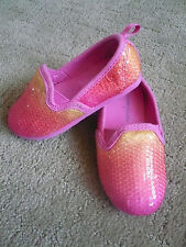 GIRLS SIZE 7 FADED GLORY SEQUENCE DRESS SHOES WITH PINK YELLOW SPARKLES EUC