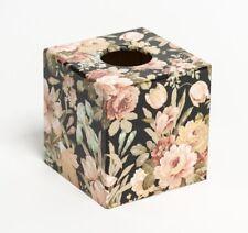 Black Floral Tissue Box Cover wooden handmade decoupaged in UK