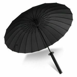 Folding Windproof Sun Japanese Sword Rainny Umbrella Ninja Style Katana Black