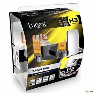 2x H3 Lunex Plasma Gold 12V 55W Car Headlight Halogen Bulbs Yellow PK22s 2800K