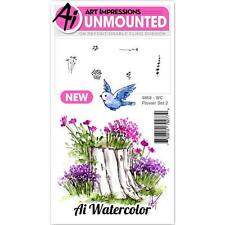 New ART IMPRESSIONS RUBBER STAMP Cling Watercolor FLOWER SET 2 free USA ship