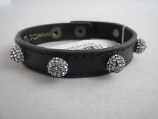 Betsey Johnson black leather~pave disco ball studded snap bracelet,NWT