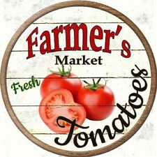 Farmers Market Fresh Tomatoes Metal Novelty Round Circular Sign