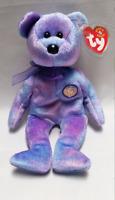 Ty Beanie Baby Clubby 4 Bear Stuffed Animal Plush Swing Tag IV Retired Purple
