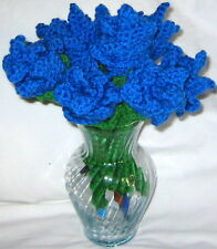 9 HANDMADE Knit CROCHET Bouquet of LONG STEM Blue ROSES Flower FLORAL Home DECOR