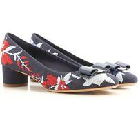 NIB Salvatore Ferragamo Eva Jeans Embroidered Multi Color Denim Pump Shoes
