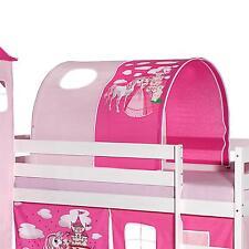 Tunnel tente pour lit surélevé mi-hauteur tissu coton motif princesse rose