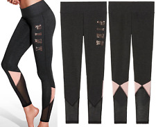 Victoria's Secret Pink Bling Mesh Flat Yoga Leggings Gray Angel Pink L NIP