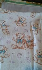 A TEDDY BLUE BOW TOWEL, HAND TOWEL, CHILD'S COMFORTER, COSY BLANKET 100% COTTON