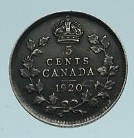 1920 CANADA - UK King George V - Authentic Original SILVER 5 CENTS Coin i83363