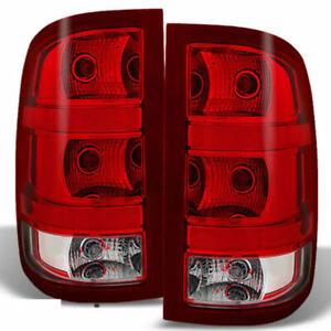 GMC Sierra Fleetside 2007-2014 RED clear Tail Lights SLE SLT 1500 2500 HD 3500 W