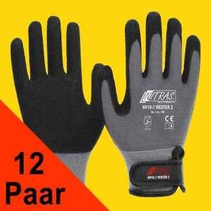 12 Paar Mechanikerhandschuhe mit Klettverschluss 8910 NITRAS schwarz (Gr.8-11)