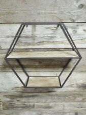 Hexagon Industrial Wall Shelf Metal and Wood Vintage Style
