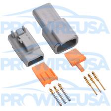 Deutsch DTM 3 Pin Connector Kit 22-18 AWG GOLD MOTEC